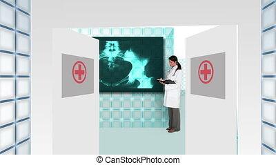 arts, het geleiden, u, in, futuristisch