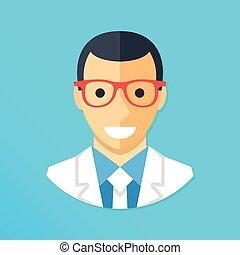 arts, icon., het glimlachen, arts, karakter, vervelend, de laag van het laboratorium, en, glasses., plat, ontwerp, grafisch, elements., vector, illustratie