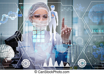 arts, in, futuristisch, medisch concept, het presen knop