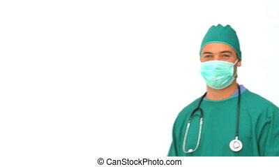 arts, in, groen uniform, kijken naar