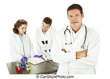 arts, in, medisch, laboratorium