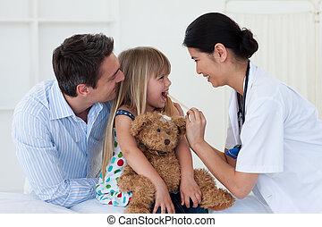 arts, keel, vrouwlijk, patiënt, controleren, haar