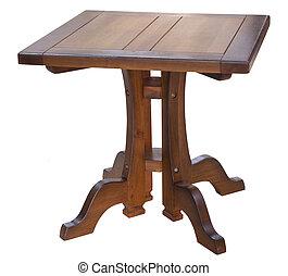 arts métiers, chêne, dîner, carrée, table, isolé, blanc
