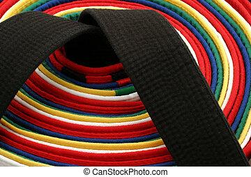 arts martiaux, ceintures, -, rond