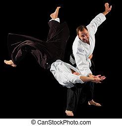 arts martiaux, combattants, deux