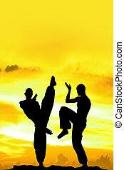 arts martiaux, fond jaune