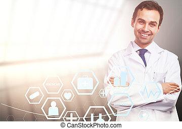 arts, met, medisch, interface