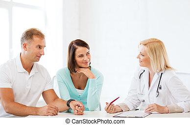 arts, met, patiënten, in kabinet