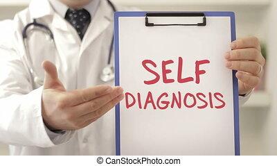 arts, met, zelve vaststeslling van een ziekte, meldingsbord
