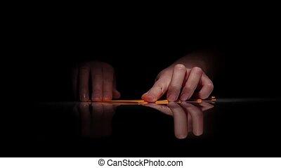 Arts origami. Black. Close Up - Arts origami, hands make...