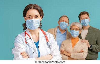 arts, paar, facemasks, senior, vervelend