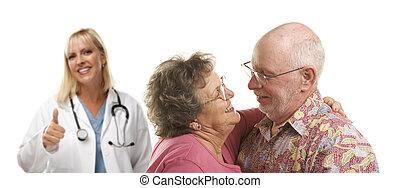 arts, paar, of, medisch, achter, verpleegkundige, senior