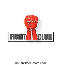 arts, poing, arrière-plan., club, isolé, baston, martial, vecteur, conception, gabarit, mélangé, logo, blanc, mma, rouges, homme