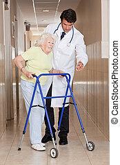 arts, portie, patiënt, gebruiken, walker