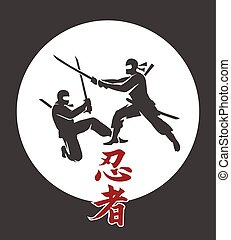 arts, poster., guerriers, japonaise, illustration, armes, martial, silhouettes, vecteur, asiatique, épée, ninja, assassin