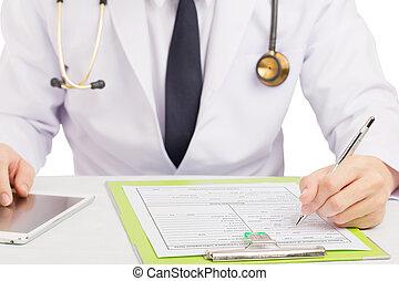 arts, registreren, geschiedenis, of, vullen, medisch, form.