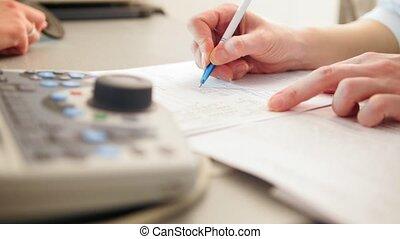 arts, schrijft, -, oogheelkunde, diagnose, rapport