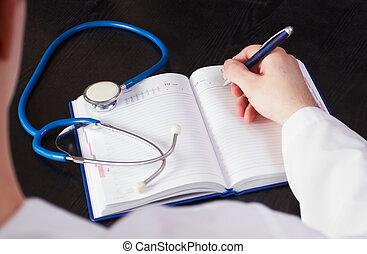 arts, schrijvende , in, de, notebook.