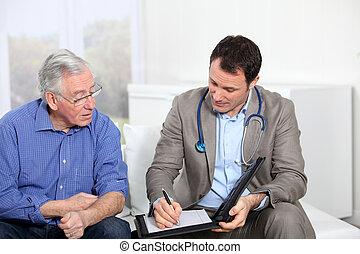 arts, schrijvende , medisch, recept, om te, oudere man