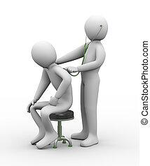 arts, stethoscope, patiënt, het onderzoeken, 3d