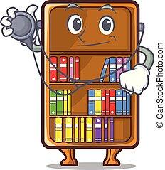 arts, studeren, naast, boekenkast, bureau, mascotte