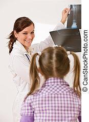 arts, tonen, jonge, vrouwelijk kind, rontgen