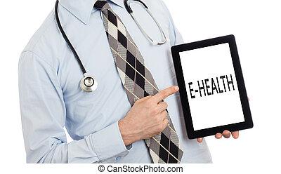 arts, vasthouden, tablet, -, e-health