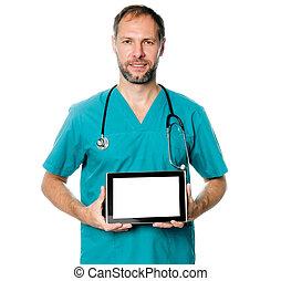 arts, vasthouden, tablet, leeg