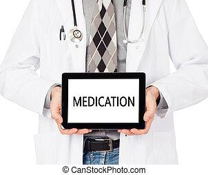 arts, vasthouden, tablet, -, medicatie