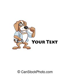 arts, veeartsenijkundig, dog, logo, spotprent, mascotte