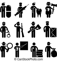 arts, verpleegkundige, tandarts, rechter, politie