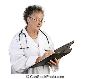 arts, vrouwlijk, middelbare leeftijd , aantekeningen nemd
