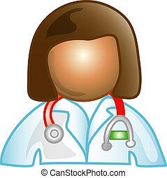 arts, vrouwlijk, pictogram