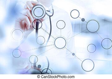 arts, werkende , moderne, interface, computer, medisch, hand, geneeskunde, concept