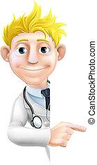 arts, wijzende, meldingsbord