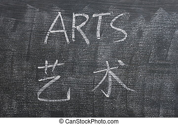 Arts - word written on a smudged blackboard