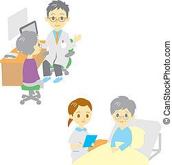 arts, zien, vrouw, oud