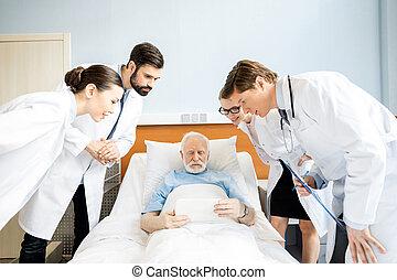 artsen, en, senior, patiënt