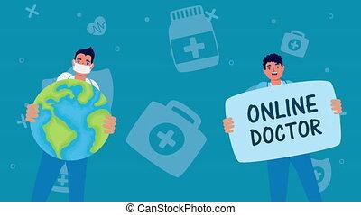 artsen, het tilen, wereld, telemedicine, technologie, etiket
