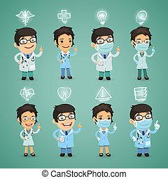 artsen, set, iconen