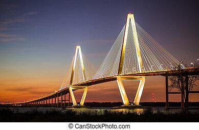 artur, ravenel, jr, most, oświetlany, w, wieczorny