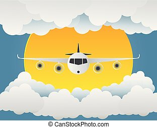 art.vector, blaues, wolkenhimmel, sonne, abbildung, background.paper, motorflugzeug