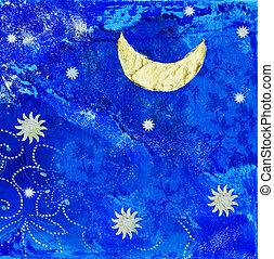 artwork, com, lua estrelas