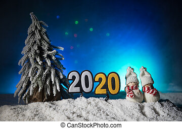 Artwork decoration. Happy new 2020 year. Empty space for your text. 2020 written on the snow