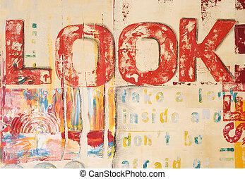 Artwork modern - abstrakt painting with handprinted text,...