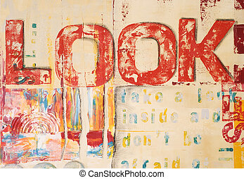 Artwork modern - abstrakt painting with handprinted text,...