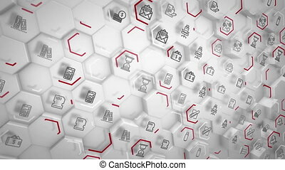 """Arty business hexagons going aslant"" - ""Cheery 3d rendering..."
