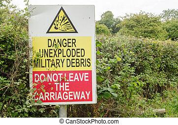 artyleria, ostrzeżenie znaczą, unexploded
