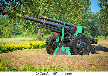 artyleria, wojownik, stary, armata, artyleria, park, armata,...
