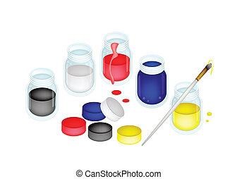 artysta farbują, szczotki, malować, słoje, otwarty